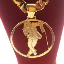Pingente Medalha Malandro Vazado Banhado a ouro 18k