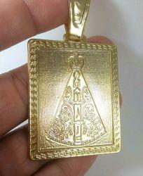 Pingente Nossa Senhora Quadrado Banhado a Ouro 18k