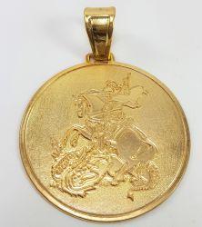 Pingente MEGA São Jorge  Banhado a Ouro 18k