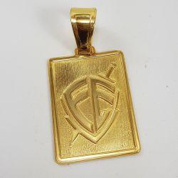 Pingente Grande Placa Escudo FÉ Banhado a Ouro 18k
