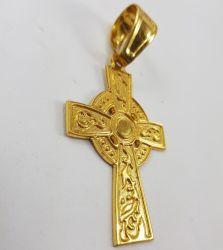 Pingente Cruz Bordado Grande Banhado a Ouro 18k