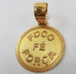 Pingente Masculino Foco, Força, Fé Banhado A Ouro 18k