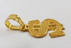 Pingente Cifrão Bordado Vazado Banhado a Ouro 18k