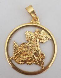 Pingente São Jorge Médio Vazado  Banhado a Ouro 18k