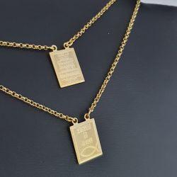 Escapulário Elo Portugues Deus é fiel  - 2 mm com 60 cm  Banhado a Ouro 18k