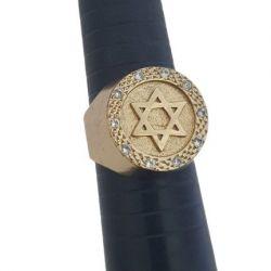 Anel com Pedras Estrela de Davi Banhado a Ouro 18k