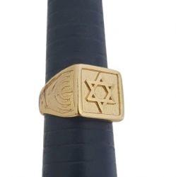 Anel Estrela de Davi Banhado a Ouro 18k