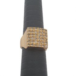 Anel Quadrado Pontos de Luz Banhado a Ouro 18k