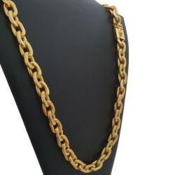 Cordão Cadeado Deitado 12 mm Banhado a Ouro 18k