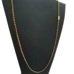 Cordão Bloquinho (Veneziana) 3 mm Banhado a Ouro 18k
