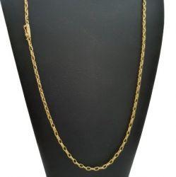 Cordão Tijolinho (Meia Cana) 3 mm Banhado a ouro 18k