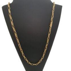 Cordão Tijolinho 5 mm (Meia Cana) Banhado a Ouro 18k