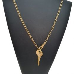 Cordão Feminino Tijolinho 4 mm Chave Banhado a Ouro 18k