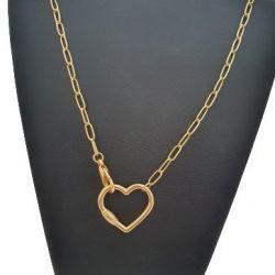 Cordão Feminino Tijolinho 4 mm  Coração Banhado a Ouro 18k