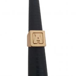 Anel Dedeira Quadrado Liso com Borda Banhado a Ouro 18k