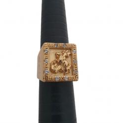 Anel  São Jorge Quadrado com Pedras Banhado a Ouro 18k