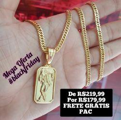 Kit Cordão Grumet duplo 5mm + Pingente  Chapa Malandro Banhado a ouro 18k