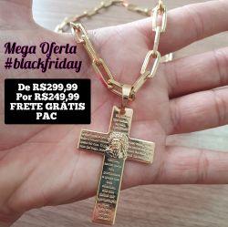 Kit Cordão Tijolinho Cartier 8mm + Pingente  Cruz Oração Banhado a ouro 18k