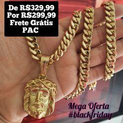 Kit Cordão Pitbull 10mm + Pingente  Face de Cristo zircônia  Banhado a ouro 18k