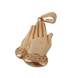 Pingente Mãos Prece Cravejado Pedras Banhado a Ouro 18k