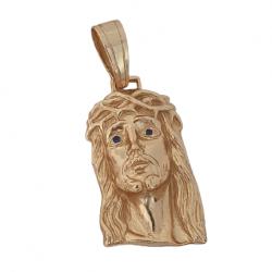 Pingente Grande Face Cristo Pedra Azul Banhado a Ouro 18k