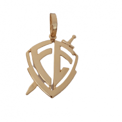 Pingente Chapa Fé Escudo Vazado Banhado a Ouro 18k