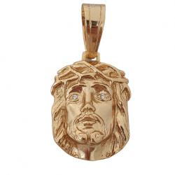 Pingente Face Cristo Pedra Branca Peq Banhado a Ouro 18k