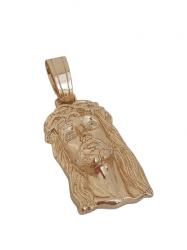 Pingente Grande Face Cristo Pedra Branca Banhado a Ouro 18k
