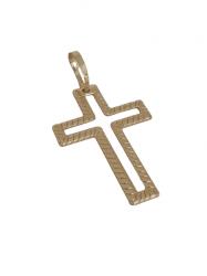 Pingente Cruz Bordada Vazada Banhado a Ouro 18k