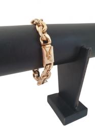 Pulseira Cadeado Deitado 12mm Banhada a Ouro 18k