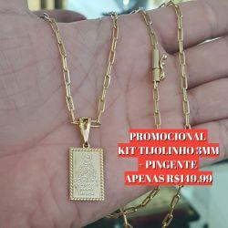 Kit Cordão Tijolinho 3mm + Pingente  Banhado a ouro 18k