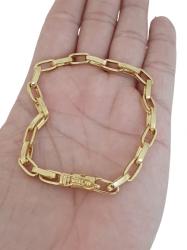Pulseira Tijolinho 5mm (Meia Cana) Banhada a Ouro 18k