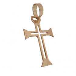 Pingente Cruz Vazada Pequena Banhado a Ouro 18k