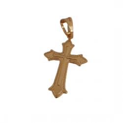 Pingente Cruz Bordada Mini Banhado a Ouro 18k