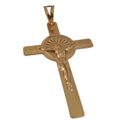 Pingente Cruz Luz de Cristo Banhado a Ouro 18k