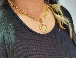 Kit  Feminino Cordão Elo Português 6mm + Pingente Coroa King Cravejada Banhado a Ouro 18k