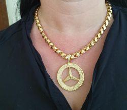 Kit Feminino Cordão Frizo S 8mm + Pingente Mercedes Cravejado Vazado Banhado a Ouro 18k
