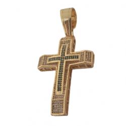 Kit Feminino Cordão Grumet Duplo 12mm + Pingente Cruz Cravejado Grande  Banhado a Ouro 18k