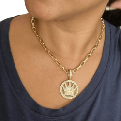 Kit Feminino Cordão Meia Cana 5mm + Pingente Coroa King  Cravejado Banhado a Ouro 18k