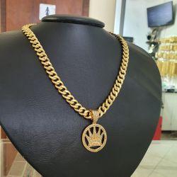 Kit Feminino Cordão  Pitbull 10mm + Pingente Coroa King  Cravejado Banhado a Ouro 18k