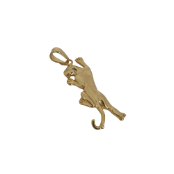 Kit Feminino Cordão Pitbull 10mm + Pingente Pantera  Banhado a Ouro 18k