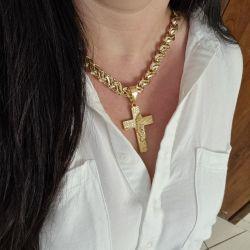 Kit Feminino  Cordão Cadeado 12mm 50 cm + Pingente Cruz Grande Cravejada Banhado A Ouro 18K